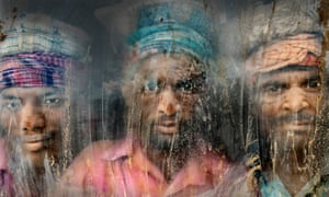 A gravel-crushing workplace in Chittagong, Bangladesh