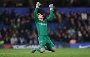 West Ham United's David Martin celebrates at full-time.