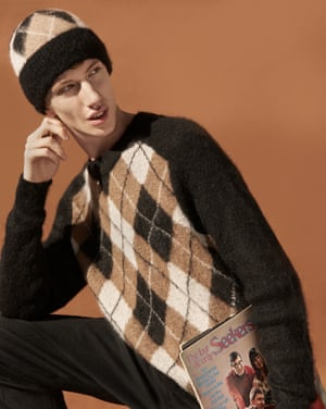 Aidan wears argyll hat, £17.99, and jumper, £59.99, both Studio collection, from hm.com. Trousers, £29.99, zara.com.