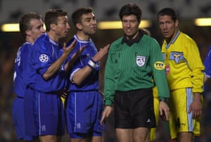 Simeone comes up against Chelsea during his playing days in Italy.