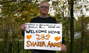 A supporter of Shaker Aamer, who was addressed only as number 239 for years.