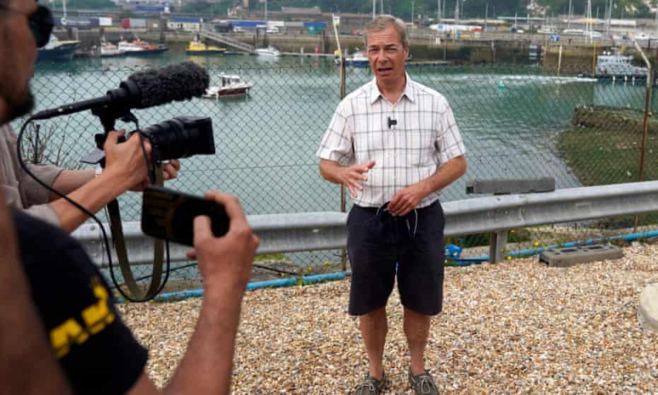 Nigel Farage filming at Dover last summer.