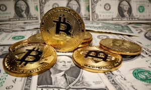 Representations of virtual currency Bitcoin on US dollar banknotes
