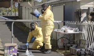 Forensic police outside a meth lab in the ABC television documentary Ice Wars