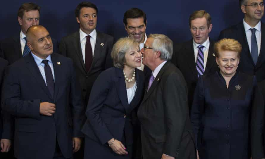 Theresa May, centre, with her counterparts at her first EU leaders' summit. She is to tell them that they stand to benefit from an end to British demands for special deals.