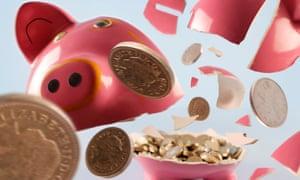 Piggy bank exploding