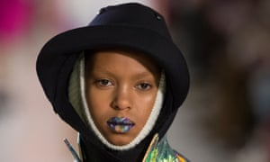 Girl with kaleidoscope lips: at Martin Margiela.
