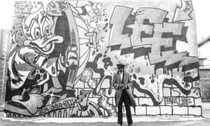 'They just thought we were grimy criminal kids' … Braithwaite in front of a work by Lee Quiñones in Harlem, 1979.