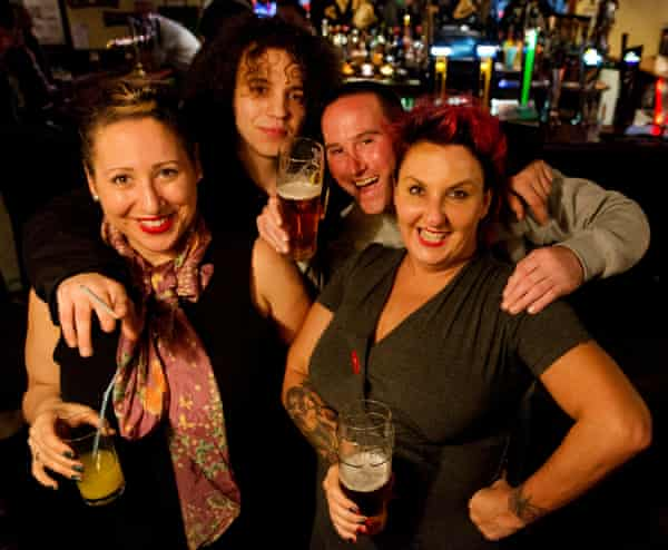 Lisa McKenzie celebrates at the Salmon and Ball in Bethnal Green with friends.