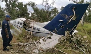 The light plane that crashed at a makeshift airfield at Papa Lealea, outside Papua New Guinea's capital of Port Moresby. The plane is alleged to have been involved in an attempted drug-smuggling operation into Australia