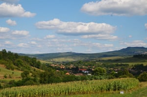 The village of Atid, where almost every household has a story about a bear attack and people do not let their children out after dark for fear of bears. In the foreground is a plot of maize. The day before, a third of the crop had been destroyed by bears.