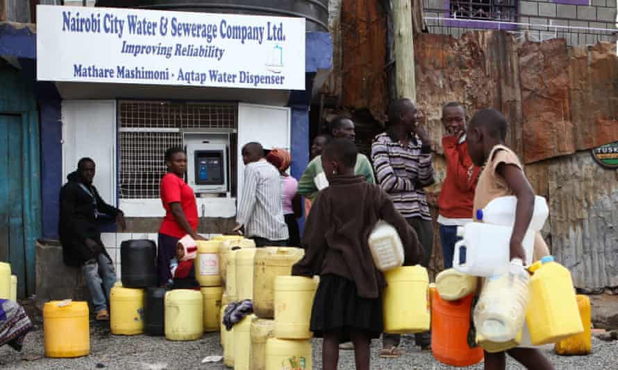 Kenyans line up at an ATM-style water dispenser in Nairobi.