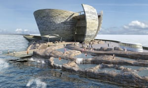 Artist's impression of how the world's first tidal lagoon power plant would look in Swansea Bay before the government rejected the plan.