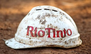 A miners hardhat with Rio Tinto logo on the side
