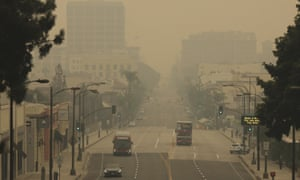 Smoke from wildfires fills the sky over Pasadena, California, on 12 September.
