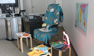 Catherine Millar's reading corner on display at her workshop at the Guardian Education Centre Reading for pleasure conference 5 March 2018.