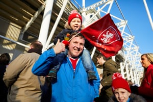 Middlesbrough fan Matthew McAuley and his three-year-old son Ben queueing to get into the south stand shortly before kick-off.