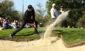 Wentworth, UK: Rory McIlroy plays out of a bunker during day two the BMW PGA Championship