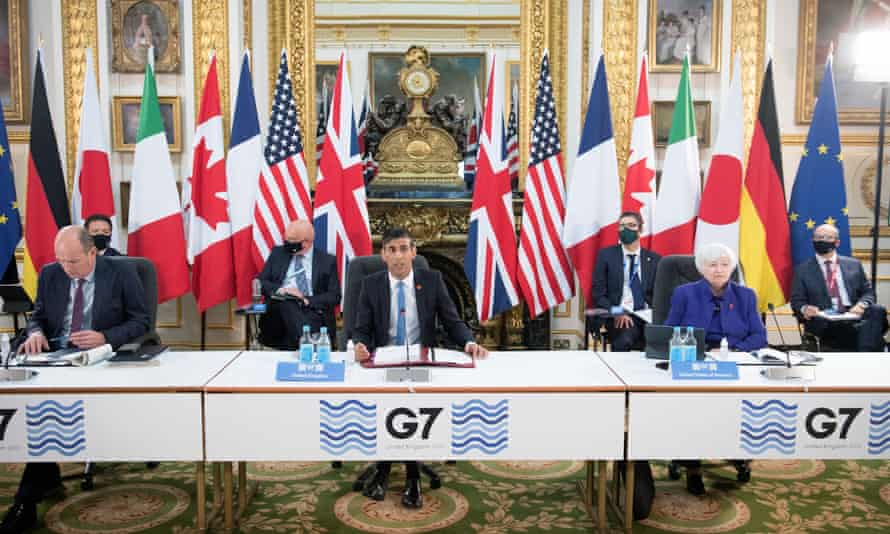 The chancellor, Rishi Sunak, at the G7 finance ministers' meeting in London on Friday.