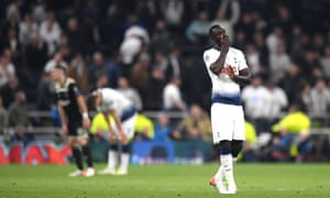 Davinson Sanchez of Tottenham Hotspur reacts after their 1-0 defeat to Ajax.