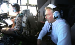 Tony Blair flies over Iraq in 2007.