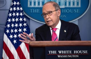 Director of the National Economic Council Larry Kudlow speaks at a press briefing at the White House today
