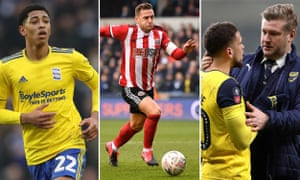 Jude Bellingham of Birmingham City; Billy Sharp of Sheffield United; Marcus Browne and manager Karl Robinson of Oxford United