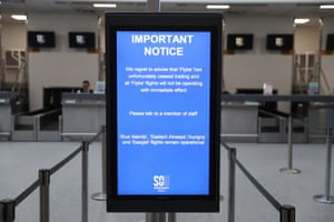 A sign at Southampton Airport this morning