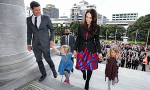 Prime Minister Jacinda Ardern, her nieces and partner Clarke Gayford arrive at Parliament after a swearing-in ceremony at Government House in Wellington, New Zealand.