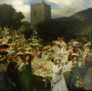 """The Grasmere Rushbearing, 1905, Frank Bramley (1857–1915), National Trust, Lake District"""