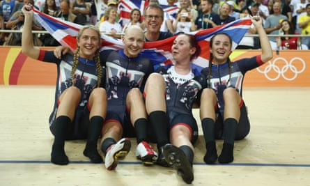 Laura Trott, Joanna Rowsell-Shand, Katie Archibald and Elinor Barker celebrate Great Britain's gold medl in the women's team pursuit at Rio 2016.