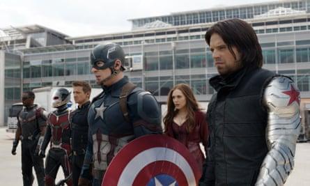 Anthony Mackie, Paul Rudd, Jeremy Renner, Chris Evans, Elizabeth Olsen and Sebastian Stan appear in a scene from Captain America: Civil War.
