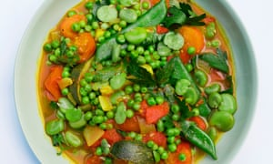 'Pop the broad beans from their skins while the sauce simmers': spiced tomato with summer vegetables.