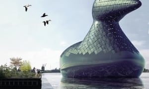 This rendering shows an aquatic bird concept, designed by a group of London-based designers, which would be outfitted with enough hydraulic turbines and solar cells to power an entire neighborhood. Designed to educate, it would sink lower when energy demand increases, and would have an open interior area where visitors can see how it works.