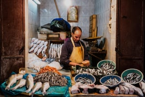 Fishmonger in Fez. A portrait of a fishmonger in the souks of Fez, Morocco.