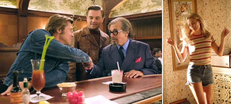 Brad Pitt, Leonardo DiCaprio and Al Pacino in Once Upon a Time in Hollywood; Margot Robbie plays Sharon Tate.