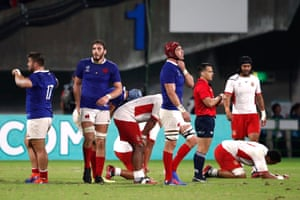 Relief for the French, disappointment for the Tonga players as France win 23-21.