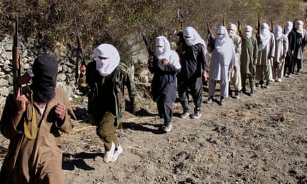 Taliban fighters on a training exercise in 2011.