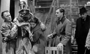 Moray Watson, second from right, in a scene from the BBC's The Quatermass Experiment, 1953.