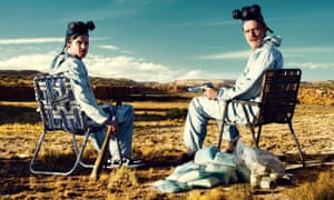 Bryan Cranston (right) as Walter White in Breaking Bad.