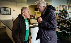 Labour leader Jeremy Corbyn talks to users of the Hope Centre in Northampton.