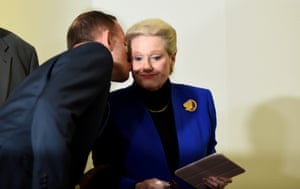 10th August 2015: A very public display of support for the embattled former speaker Bronwyn Bishop, who resigned after controversy grew over her use of parliamentary travel entitlements. After a party room meeting to decide her replacement, Abbott walked out and kissed the member for Mackellar in front of the assembled media. Later that day, Victorian Tony Smith went through the Westminster parliamentary ritual of being dragged to the speaker's chair – a tradition dating back to a time when a monarch would chop off the head of a speaker if he didn't like what was being conveyed.