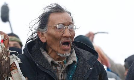 Nathan Phillips marches against the Dakota Access oil pipeline near Cannon Ball, North Dakota, US.