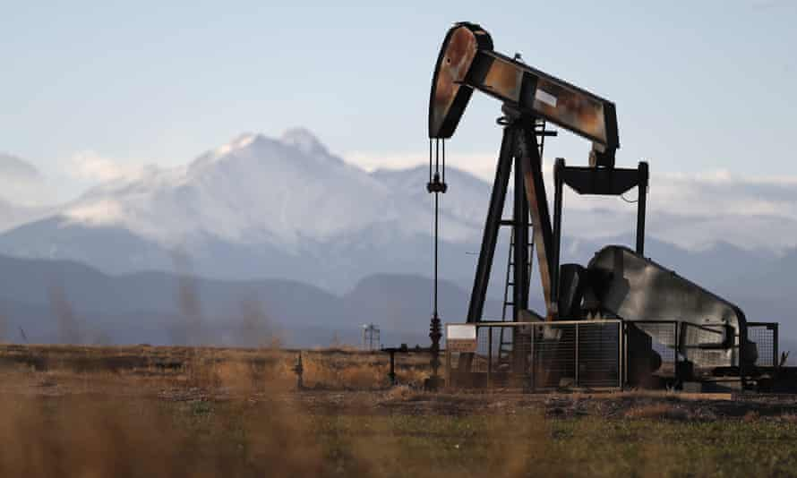 A pump jack over an oil well in Colorado.