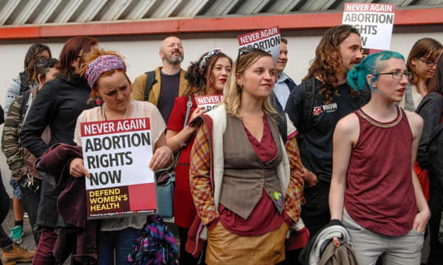 Alliance for Choice activists outside Musgrave Street police station, Belfast.