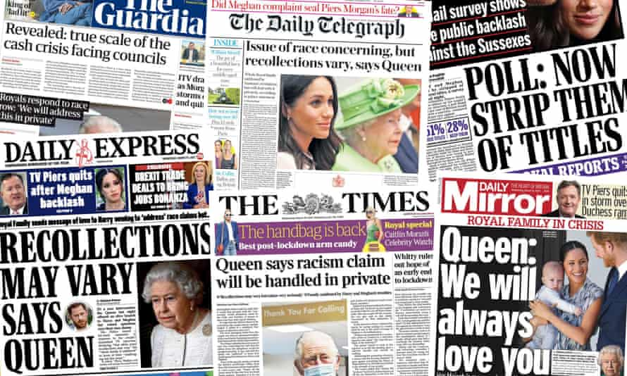 Front pages of the UK papers on Wednesday as the royal crisis over the Meghan and Harry interview by Oprah Winfrey continued.