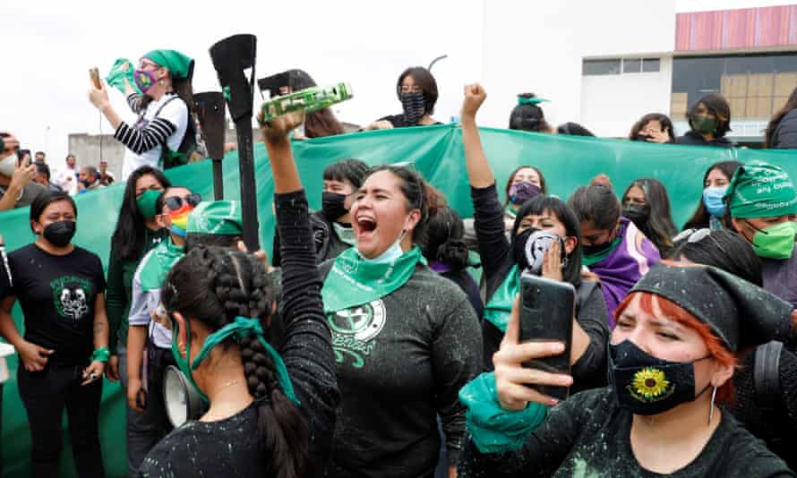 Women in the state of Hidalgo rallying in support of legalising abortion, 30 June 2021.