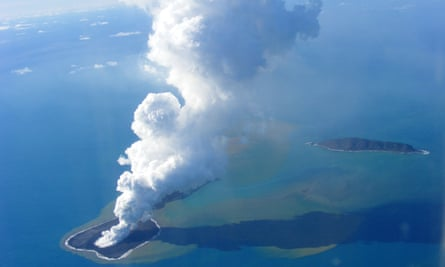 Ash from an undersea volcanic eruption, part of the uninbabited islet of Hunga Ha'apai, 63 km northwest of the Tongan capital Nuku'alofa. 90% of the Earth's deep seismicity occurs in the Tonga area in which scientists think they have found a subducted plate.