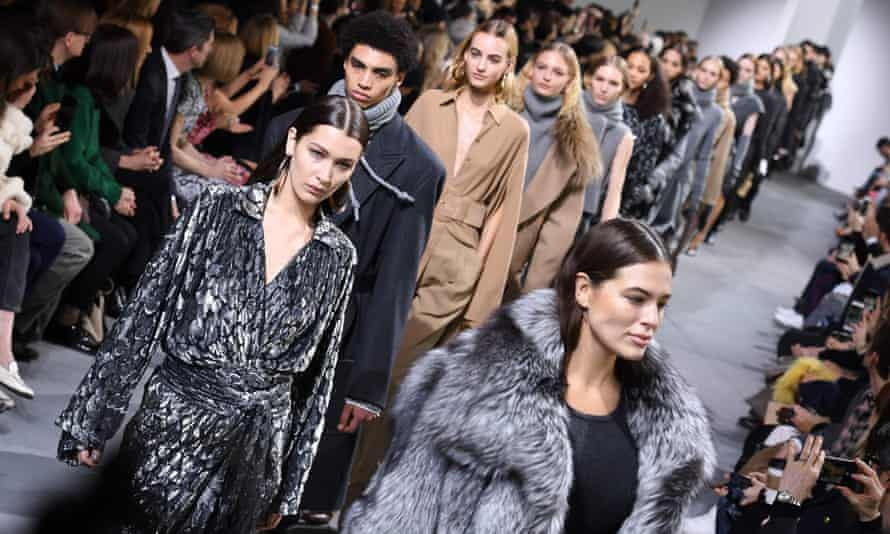Models walk the runway for the Michael Kors collection during New York fashion week in February this year