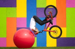 Edinburgh, ScotlandTrials rider Danny MacAskill performs stunts from his forthcoming Edinburgh Fringe Debut show 'Drop & Roll Live' at the Underbelly Circus Hub in The Meadows.